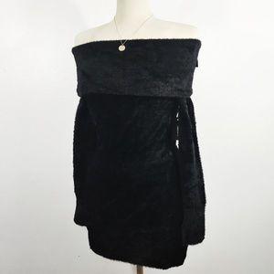 FOREVER 21 fuzzy cowlneck off shoulder dress